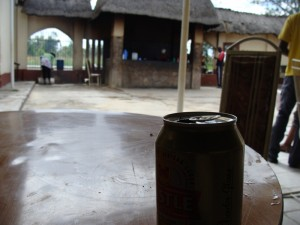 On the way to Harare, stopped for lunch and beer